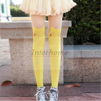 Wholesale Women Poke Socks Pokem Knee High Socks Cartoon Pikachu Socks Fashion Poke Tights Poke Ball Leggings Pikachu Stockings Leg Warmers B509