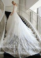 Wholesale 2016 Woman Princess Wedding Dresses Mermaid Off Shoulder Embroidered Handmade Flower Slim Court Train Bridal Gowns