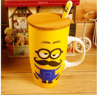 ceramics and pottery - Small yellow Despicable Me Minions cartoon ceramic mug with cover lid and spoonful coffee cup creative office mug