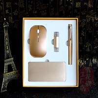 Wholesale Luxury office gift set mah power benk G usb flash for pc and mobile phone wireless mouse for Ipad
