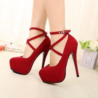 red pumps - Womens Pumps Spaghetti Heels High Heels OL Style Formal Ankle Strap Platform Shoes Large Size O147