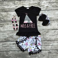 american tents - baby girls wild and free clothing summer girls boutique clothing black top with tent shorts seersucker shorts with accessories