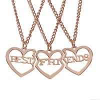 Nuevo estilo rotos 3 Color de las piezas del corazón collares pendientes de oro del mejor amigo Cartas manera del collar de la joyería del partido del regalo Amigos