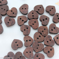 Wholesale 400pcs coffee brown color Heart Wooden Buttons flatback