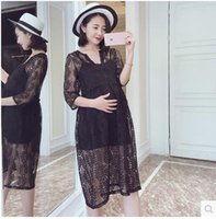 Wholesale Summer New Women Clothes Maternity Lace Dress Suspender Long Fashion Dress Clothing V neck Elbow Sleeves