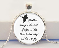 art lyrics - Blackbird Singing In The Dead Of Night Pendant Necklace Song Lyrics Art Jewelry for women