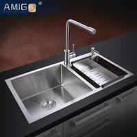 Wholesale Amigo SUS304 Handmade sink big capacity diagonal design generous decency flexible wire processing surface smooth