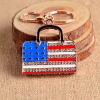 american flag keychain - American National Flag Bag Luxury Keychain Key Chain Key Ring Holder Keyring Porte clef Gift Men Women Bag Pendant Car SZ