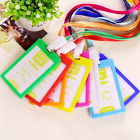 Wholesale PVC ID Badge Holder Accessories Vertical Credit Card Bus Cards Case Papelaria Cute Stationery Supplies With Lanyard Badged Reel