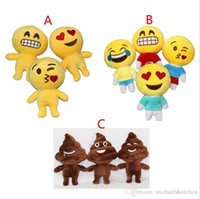 Wholesale 10 Design cm Lovely QQ Expression Emoji Shits Poop Smiley Pillows Cartoon Cushion Pillows Yellow Round Emoji Plush Doll Toy B