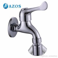 Wholesale AZOS Mop Bibcock Single Cold Wall Mounted Chrome Polish Outdoor Garden Tap Bathroom Basin Faucet Toilet Parts Replacement PJTB003