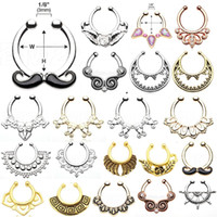 Wholesale Hot Selling Fake Septum Pierced Hoop Nose Ring Faux nose ring Clicker Non Piercing Hanger Clip On Jewelry