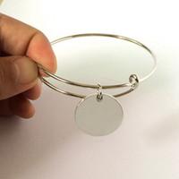 alloy discs - Personalized Blank Metal Leather Bracelet Monogram Disc Charm Bangle BraceletFashion Brand Designer Inspired Modern Design Open Cuff Bangle