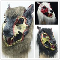 adult devil costumes - new scary wolf mask on sale Halloween Party mask creepy animal mask Terrorist devil head costume brown black white color