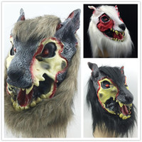 adult devil costumes - On Sale Scar wolf mask Full Face Halloween Party mask creepy animal mask Terrorist devil head costume brown black white three color