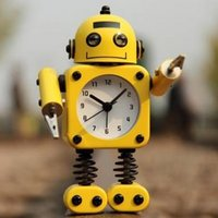 antique robot metal toys - Creative Robot Alarm Clock Mute Clock Message Clips Home Decorative Clock Toy Gift Your Best Choice