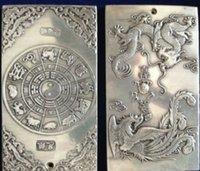 amulets and talismans - old tibet silver Auspicious dragon phoenix buddha thangka amulet Tibetan silver Yaopai Twelve zodiac