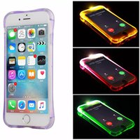Wholesale Anti Knock Light LED Flash Case For Apple iPhone S S SE Air Cushion Coners Protection Soft TPU Cover for iPhone7 Plus