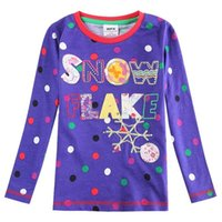 Wholesale Blue green T shirt girls Long Sleeved Kids clothes Cotton for kids clothing Dot and Letter Fashion T shirts Kids clothing