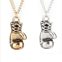 Wholesale Gold Boxing Glove Pendant and Chain Necklace Rocky Sylvester Stallone Marciano Muhammad Ali