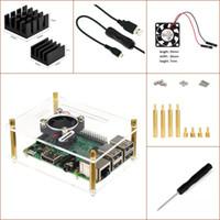 Wholesale Raspberry Pi Pi Model B Pi B Experimental Desktop Starter Kit Transparent Case ON OFF USB Cable Heat sink fan etc One layer