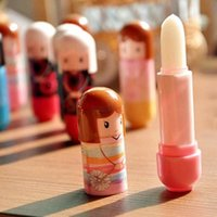 Wholesale 2016 new Lovely Doll Pattern Travel Portable Lip Balm Cute Baby Girl Lip Care Lipstick for women makeup