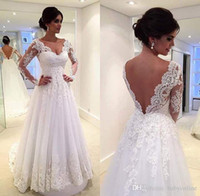Wholesale 2016 Cheap Vestidos De Novia V Neck Lace Sheer Plus Size Backless A Line Tulle Wedding Dresses Full Long Sleeves Winter Bridal Gowns