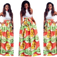 african print sundress - New Colorful Two Pieces African Robe Casual Maxi Dresses Women Sundress Sexy Suit Lady Summer Dress Hot Vestidos WE707079