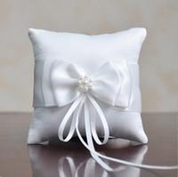 Wholesale 10 cm Wedding Decoration Beautiful White Double Bow Ribbon Pearls Romantic Wedding Ring Pillow Wedding Pillow Cushion
