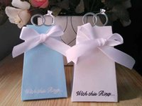 Cheap New Arrival Hot 100 pcs White Blue Diamond Ring Style Wedding Favor Boxes Gift Candy Box