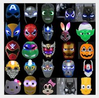 Wholesale Christmas LED Glowing superhero mask for kid adult Avengers Marvel spiderman ironman captain america hulk batman party mask for children