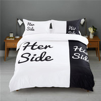 Wholesale Her Side His Side Couple s Bedding Sets Duvet Cover Bed Sheet Pillow Cases EU CN US Queen King White Black