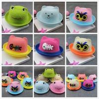 Wholesale High Quality Cute Children s cartoon hat Animal Head Beanie Cap Straw hat sunhats Mix Styles