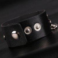 achat en gros de pulseras hip hop-2015 Nouvelle Collection Bijoux pour hommes Rivet Bullet Punk Bracelet avec chaîne Mens cuir Pulseras rock Hip Hop Bracelets Bangles MB1794