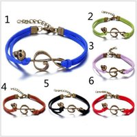 ancient bracelets - Colors at random Hot Sale Leather Chain Restoring ancient way Skull bracelet Music Skull Charm Music Bracelet Bangle Jewelry