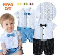 Cheap Hug Me Baby one-piece romper gentleman style tie toddler infant clothes short sleeve turn-down collar baby boys jumpsuit MC-1005