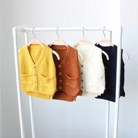 baby boy garments - New Autumn Spring Baby Boys Girls Jackets Knit Vest Kids Sleeveless Garment Sweater Children Underwaist Gilet Baby Waistcoat