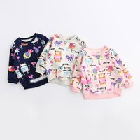 Wholesale Children Christmas Jumper Cotton - Christmas Kids Cartoon Print Fleece Pullover Tops Candy Color Western Cute Children Holiday Clothing