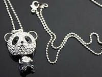 Bijoux de panda Prix-12pcs / lot Collier mignon de panda de mode d'expédition libre, plein pendentif en cristal de panda, collier de chaîne de chandail Bijoux animaux