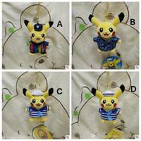 Wholesale 4 Designs cm Poke Pikachu Plush Pendant Toys For Children Cartoon Striped Sailor Hanging Handbag Car Pendents Key Rings CCA4928