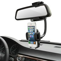 auto mirror holder - 360 Degree Car Auto Rearview Mirror Mount Cell Phone Holder Bracket Stands For Samsung For iPhone Mobile Phone GPS