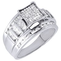 baguette cut ring - Diamond Engagement Ring K White Gold Princess Round Baguette Cut Ct