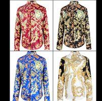 Wholesale 2015 New Arrival Brand Royal Style Shirts Fahion Shows Fabric Silk Shirts Men s Long Sleeve High Quality Print Shirts