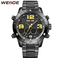 Wholesale WEIDE Analog Digital Sports Watches Men Quartz Casual Watch Top Brand Luxury Stainless Steel Band Big Dial Number Design relojes hombre