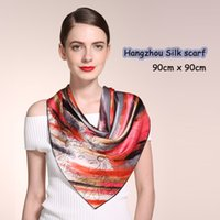 Wholesale and retail graceful professional fashion beauty printed Silk Scarf all year round suitable cmx90cm scarves