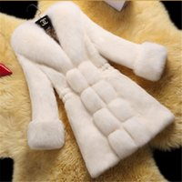 Wholesale HOT Fur coat Women s Winter Overcoat Fashion Faux Rabbit Coat with Fox Collar Female Outerwear Lady Garment