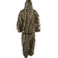 Wholesale Polyester Durable Outdoor Woodland hunting Suit Kit Cloak Military D Leaf Camouflage Jungle clothing