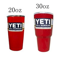 Wholesale Red oz oz Yeti Stainless Steel Cups Rambler Tumbler Insulation Mugs Double Wall Cooler Mugs
