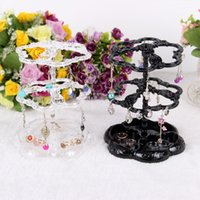 Wholesale Transparent Black Plastic Earring Display Jewelry Stand Holder Layers Holes LJ ES01