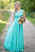 Wholesale Turquoise Bridesmaid Dresses Scoop Neckline Chiffon Floor Length Lace V Back Bridesmaid Dress for Wedding